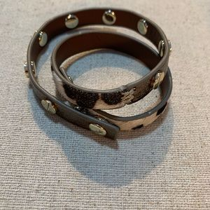 Cowhide and leather bracelet
